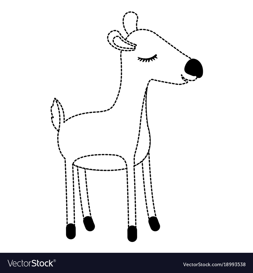 Female Deer Cartoon With Closed Eyes Expression In