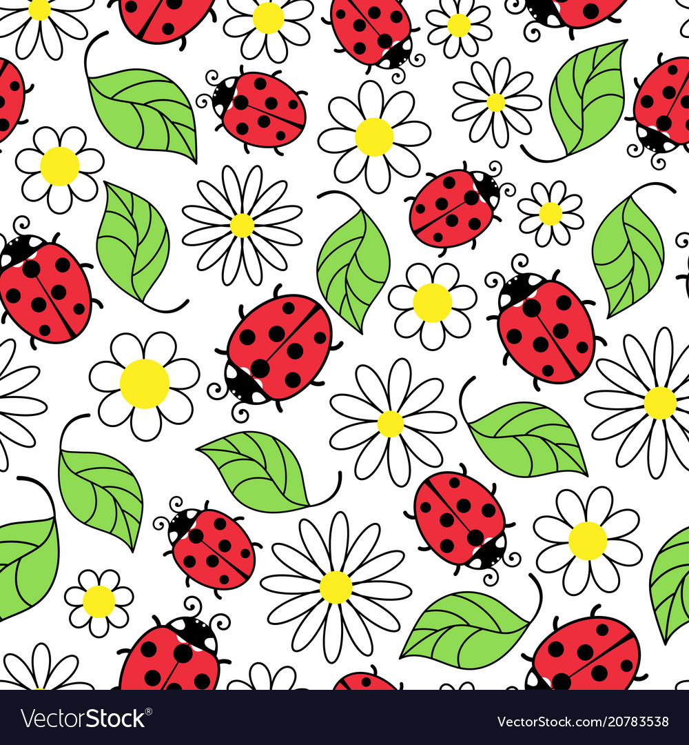 Ladybug flowers and leaves seamless pattern