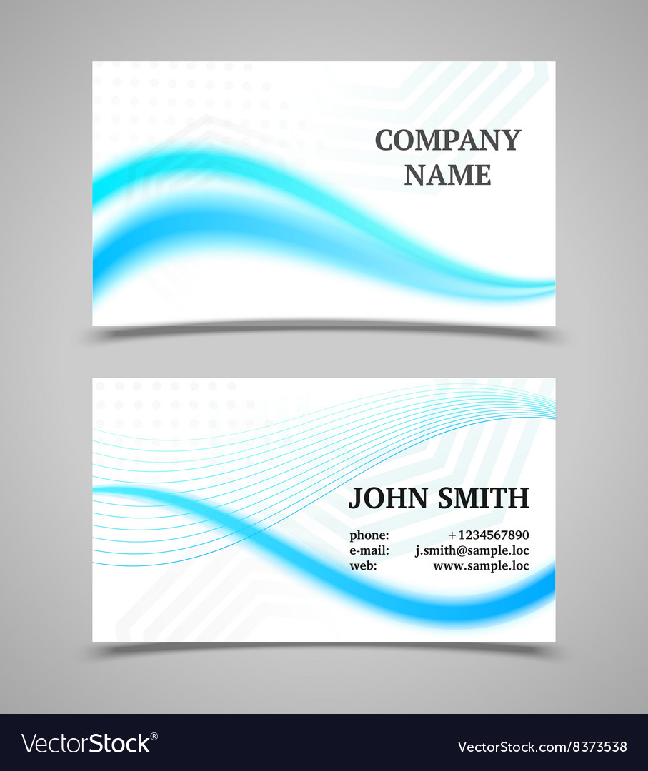 Modern light business card template with waves