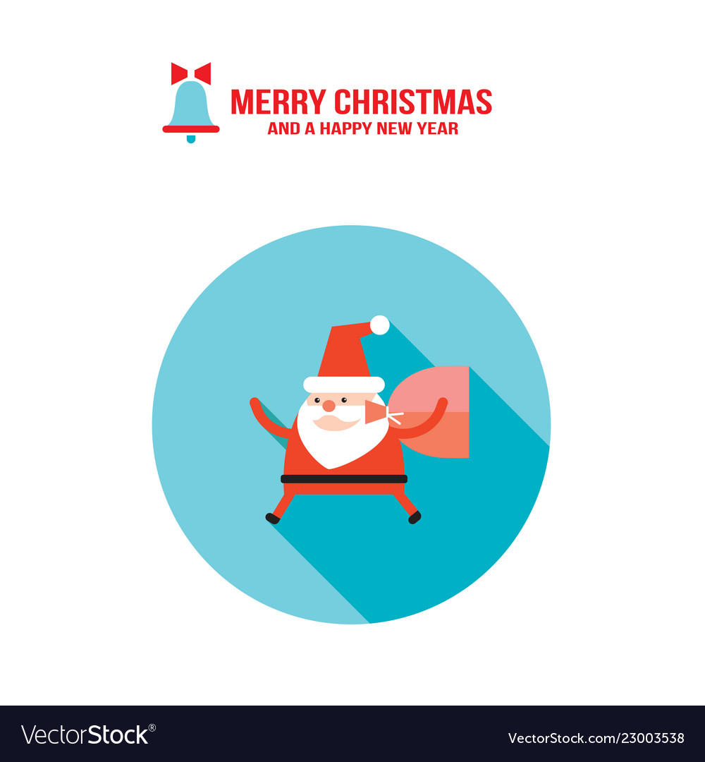 Santa claus and bag with presents gifts merry