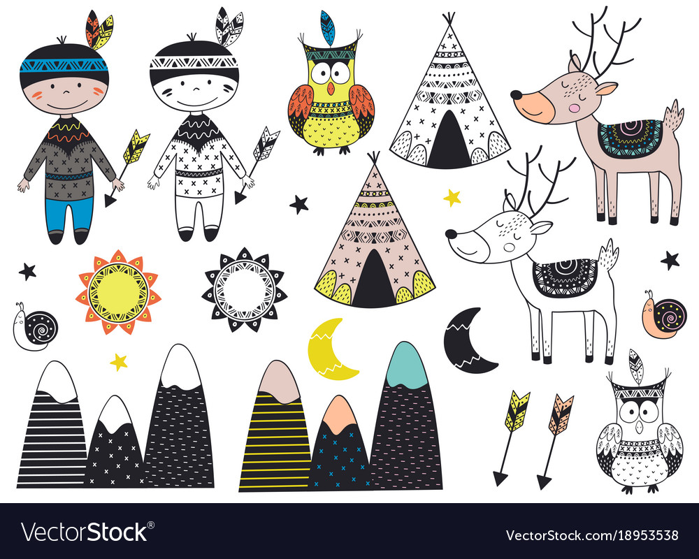 Set of isolated tribal boy and animals in scandina