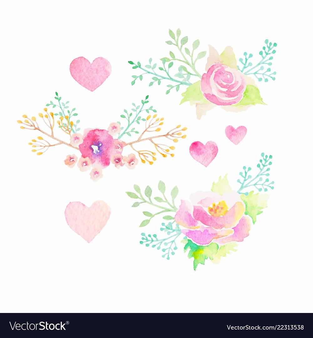 Set of watercolor flower elements