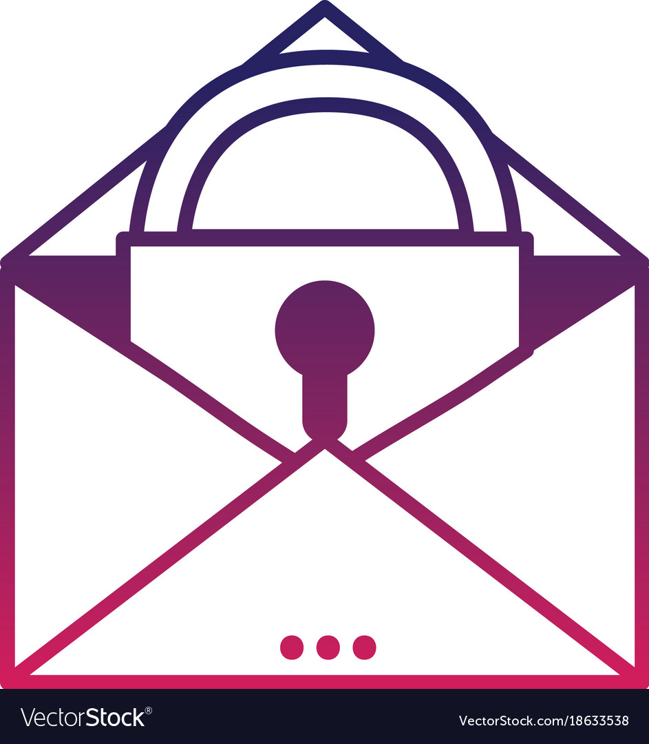 Silhouette e-mail mesage with padlock insite to