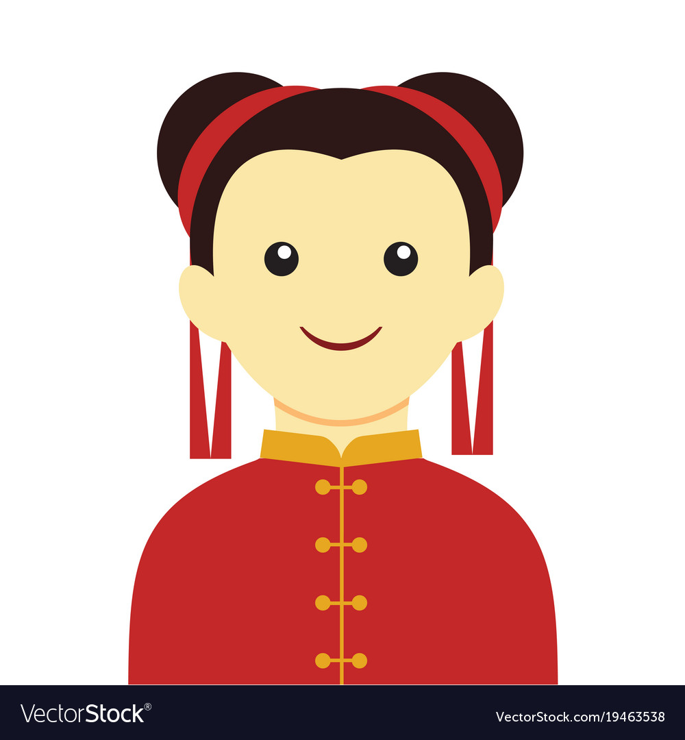 Simple Chinese Girl Smile Character Graphic Vector Image