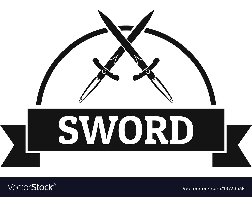 Sword warrior logo simple black style vector image