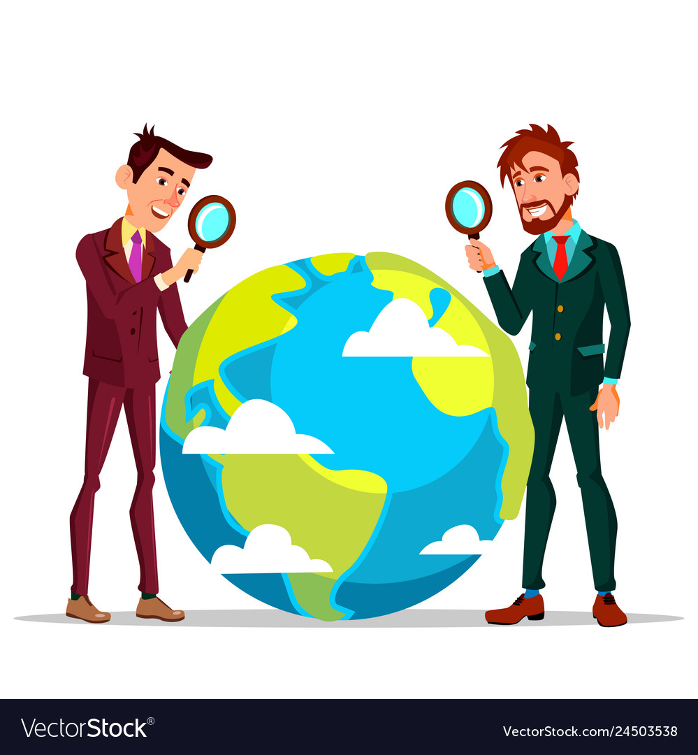 Two businessmen looking at earth through