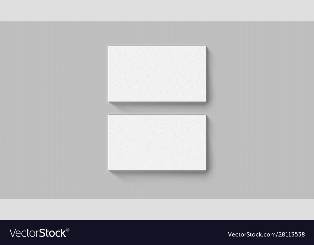 Two realistic business cards on white template