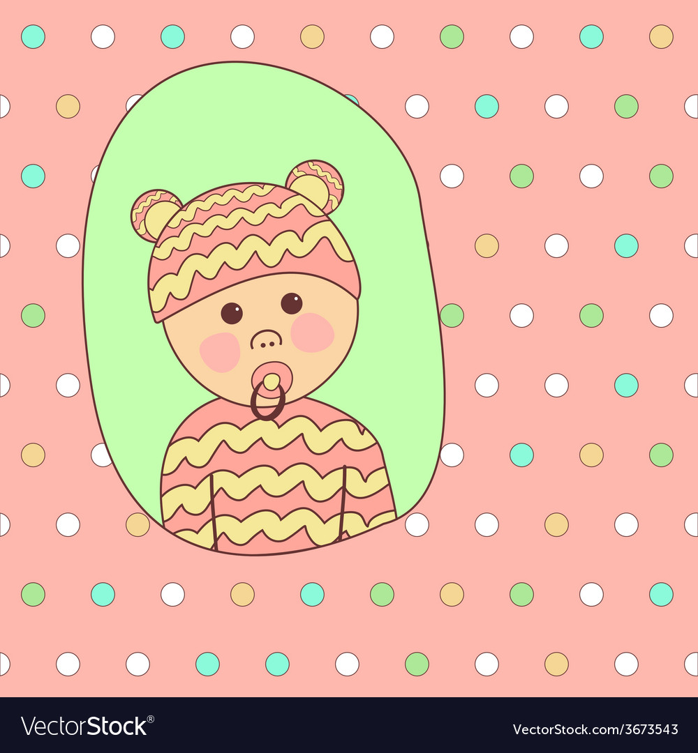 Baby Shower Card Design Little Cute Girl in