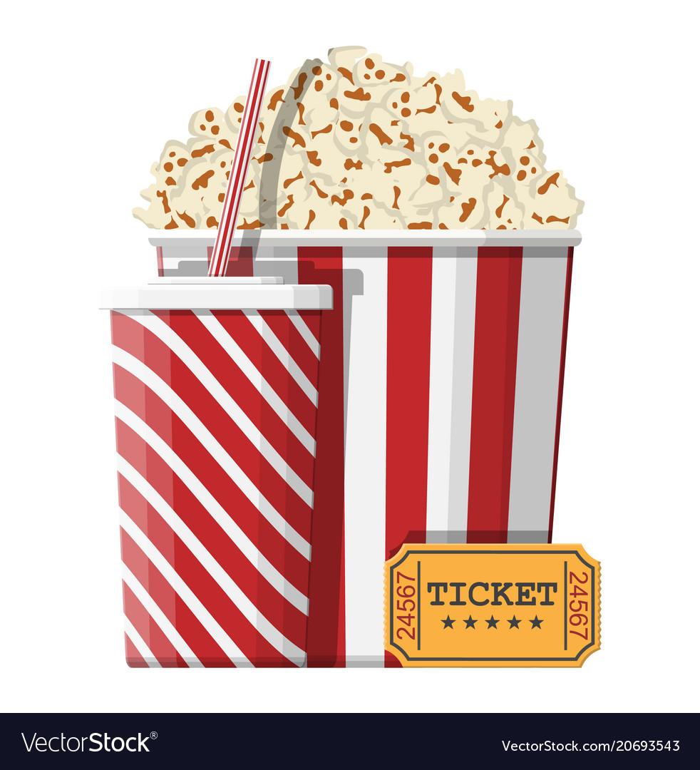 Bowl full of popcorn paper glass cinema ticket