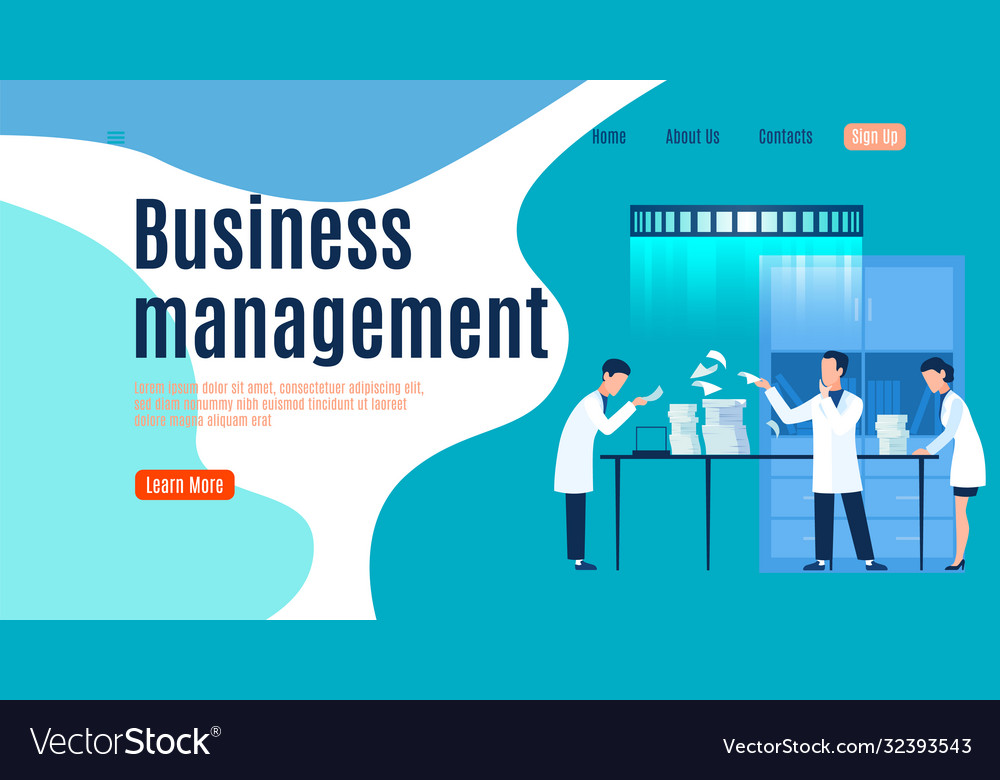 Business management landing page men and woman
