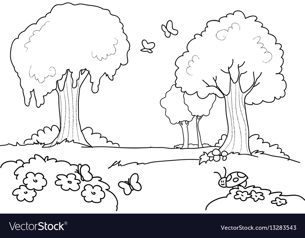 Cartoon Wood For Kids Coloring Royalty Free Vector Image