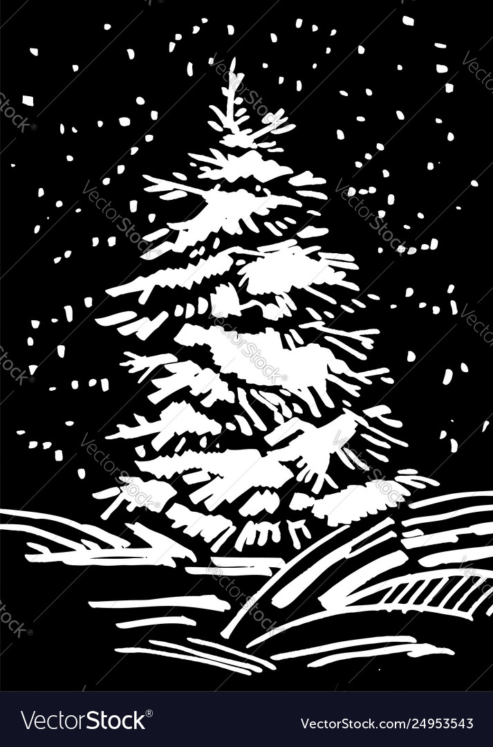 Christmas tree hand drawn marker