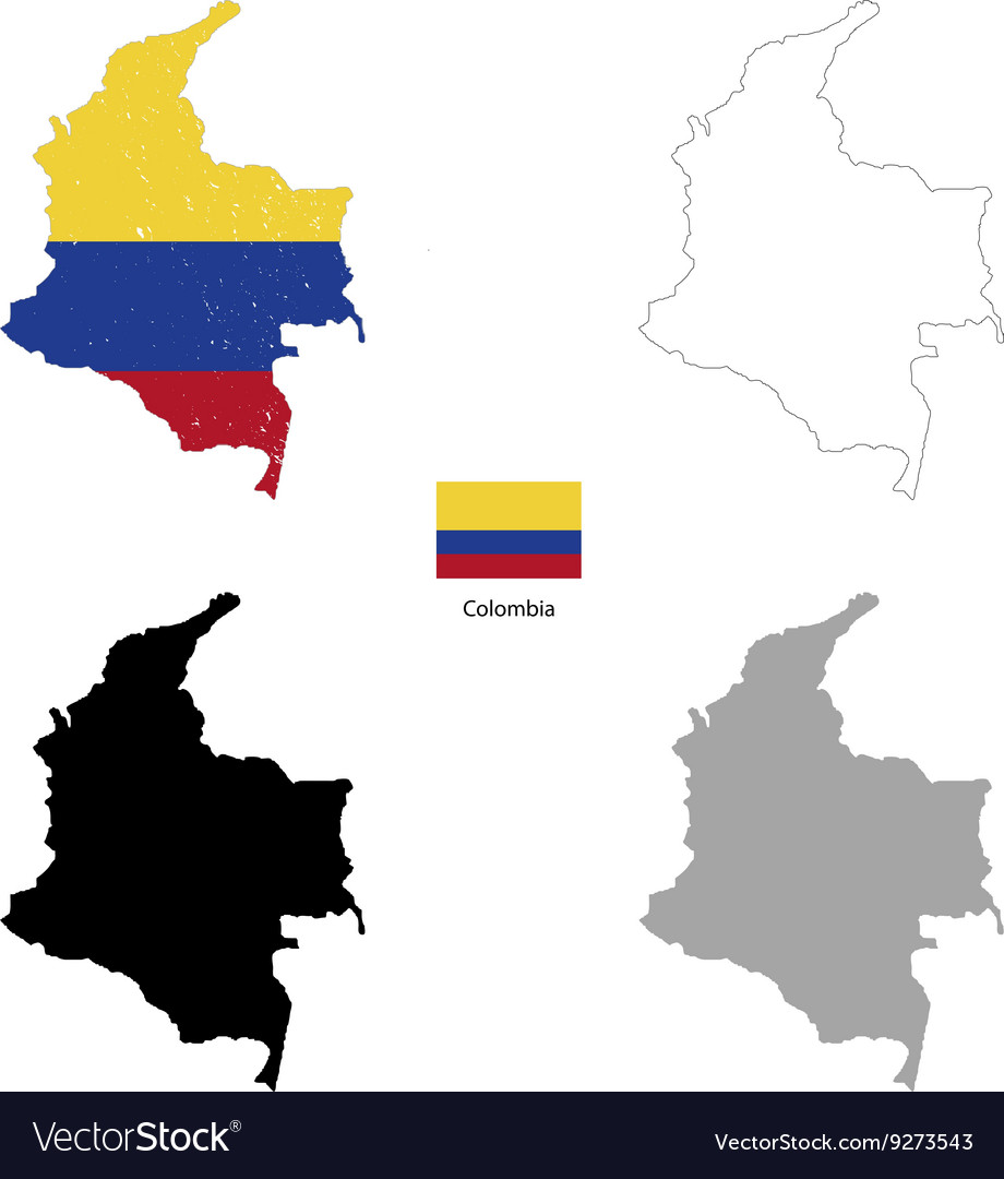 Colombia country black silhouette and with flag on