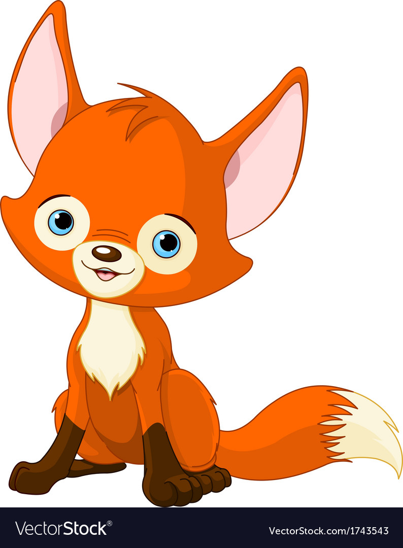 Cute baby fox vector image