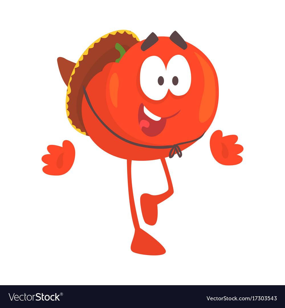 Funny cartoon red tomato character wearing