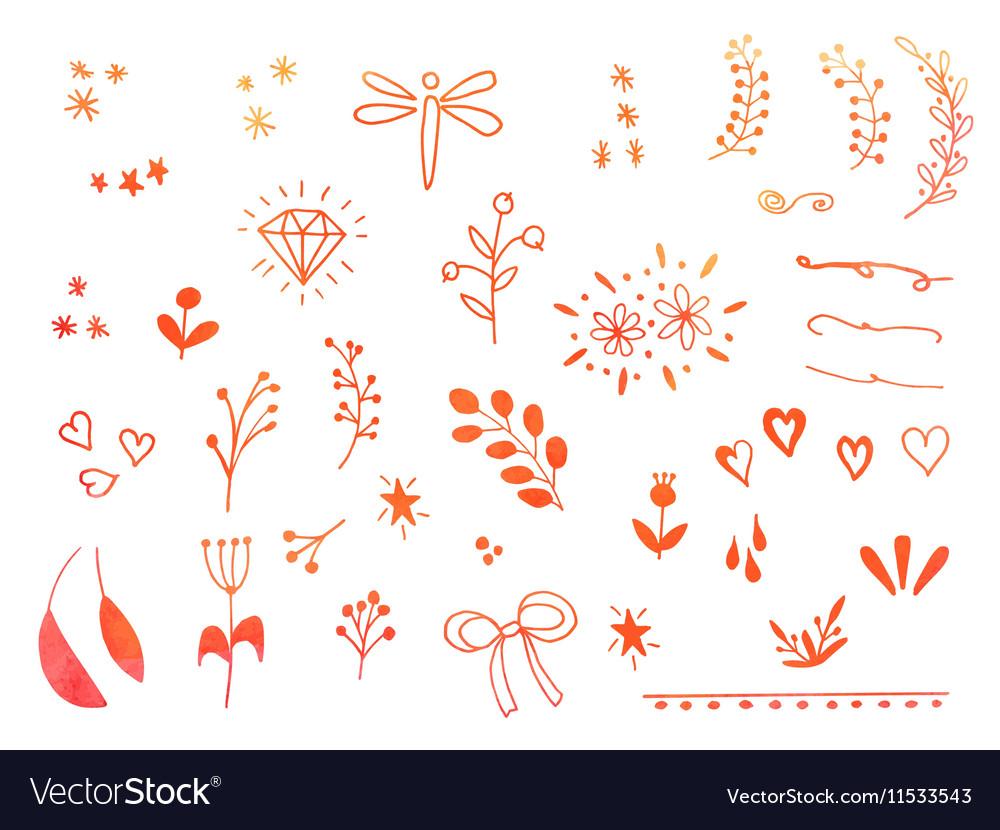 Hand drawn doodle design elements