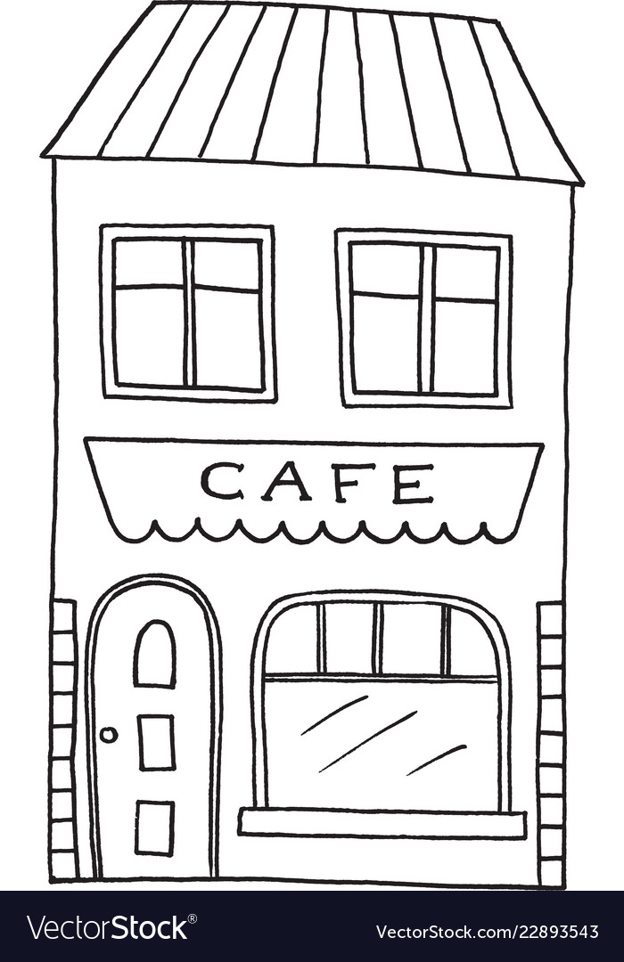 Hand drawn old cafe
