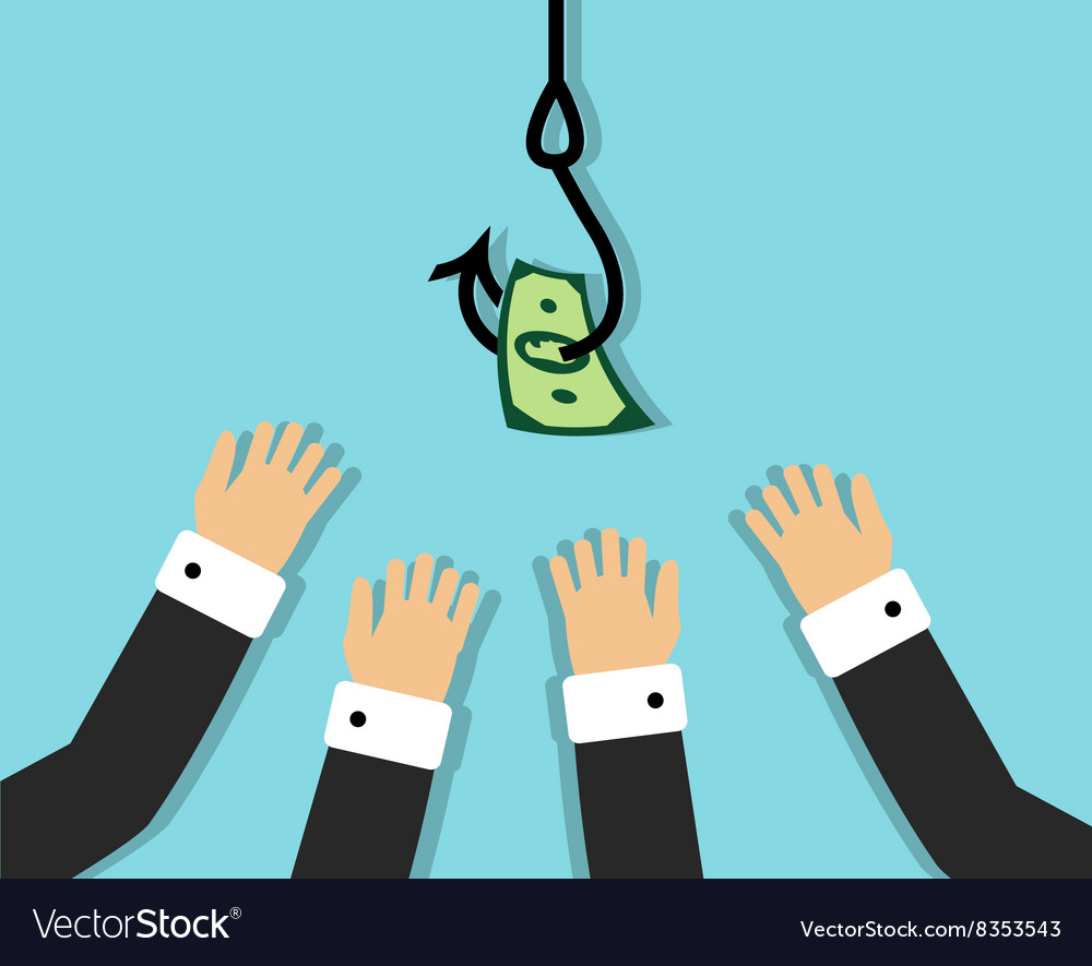 Human greed and desire to get rich vector image