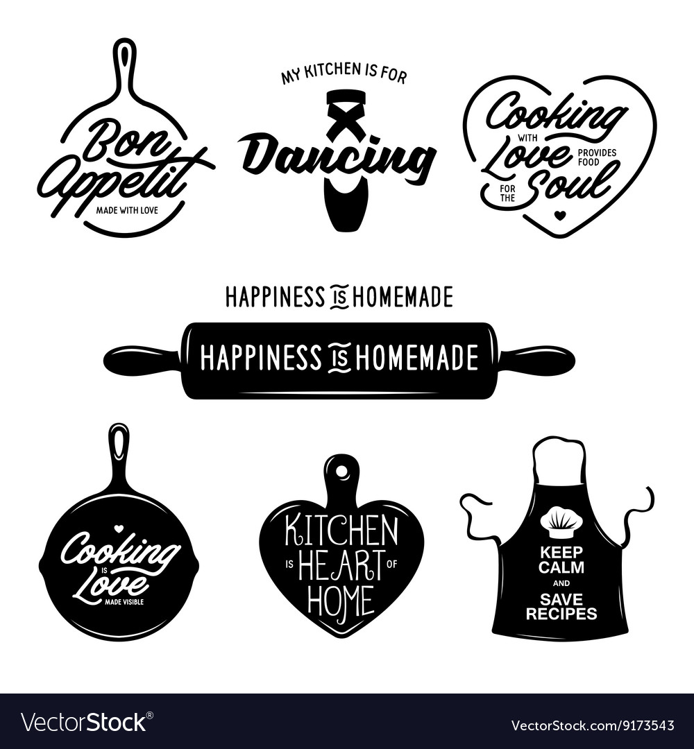 Kitchen related typography set Quotes about