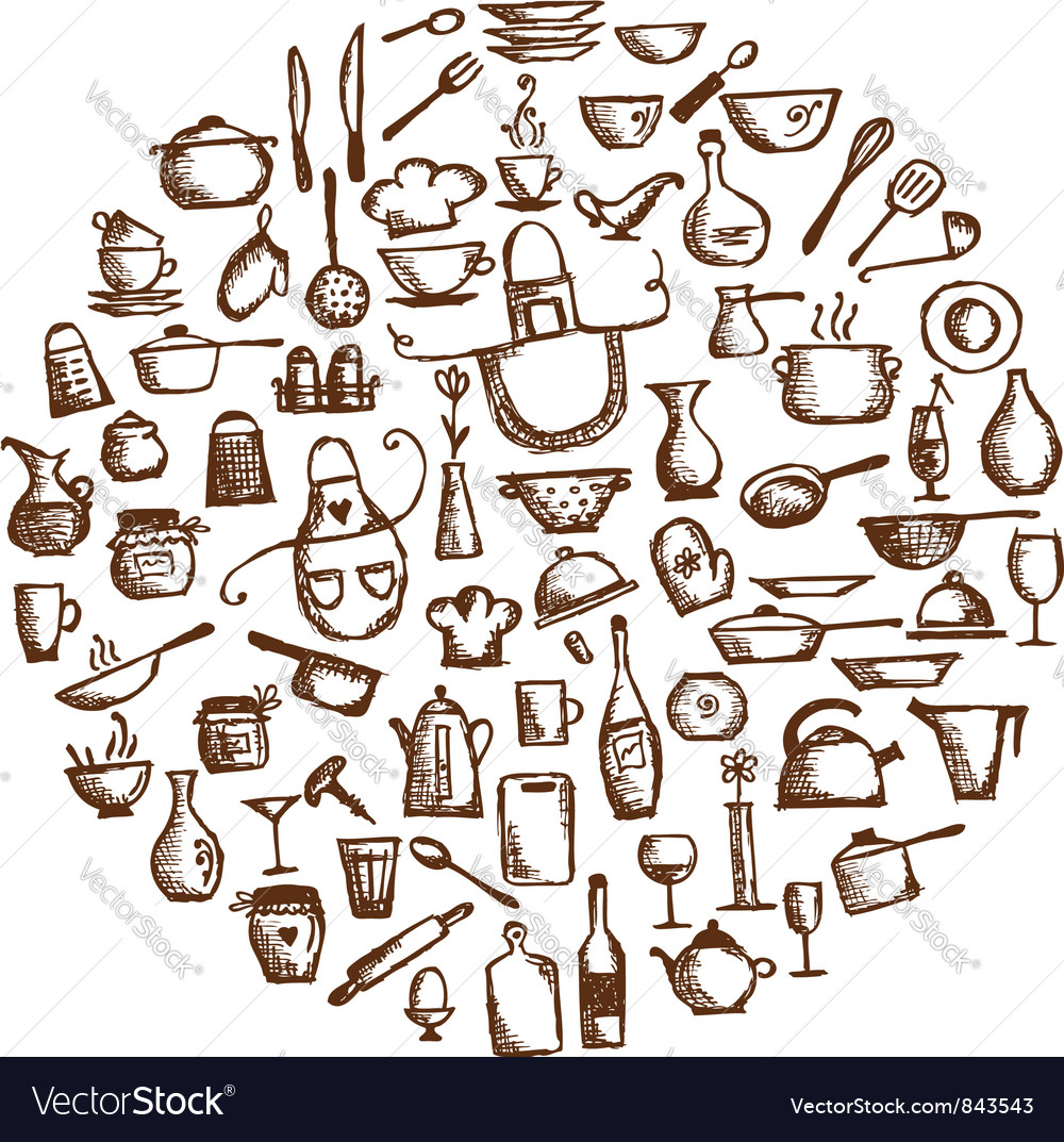 Kitchen utensils sketch drawing Royalty Free Vector Image