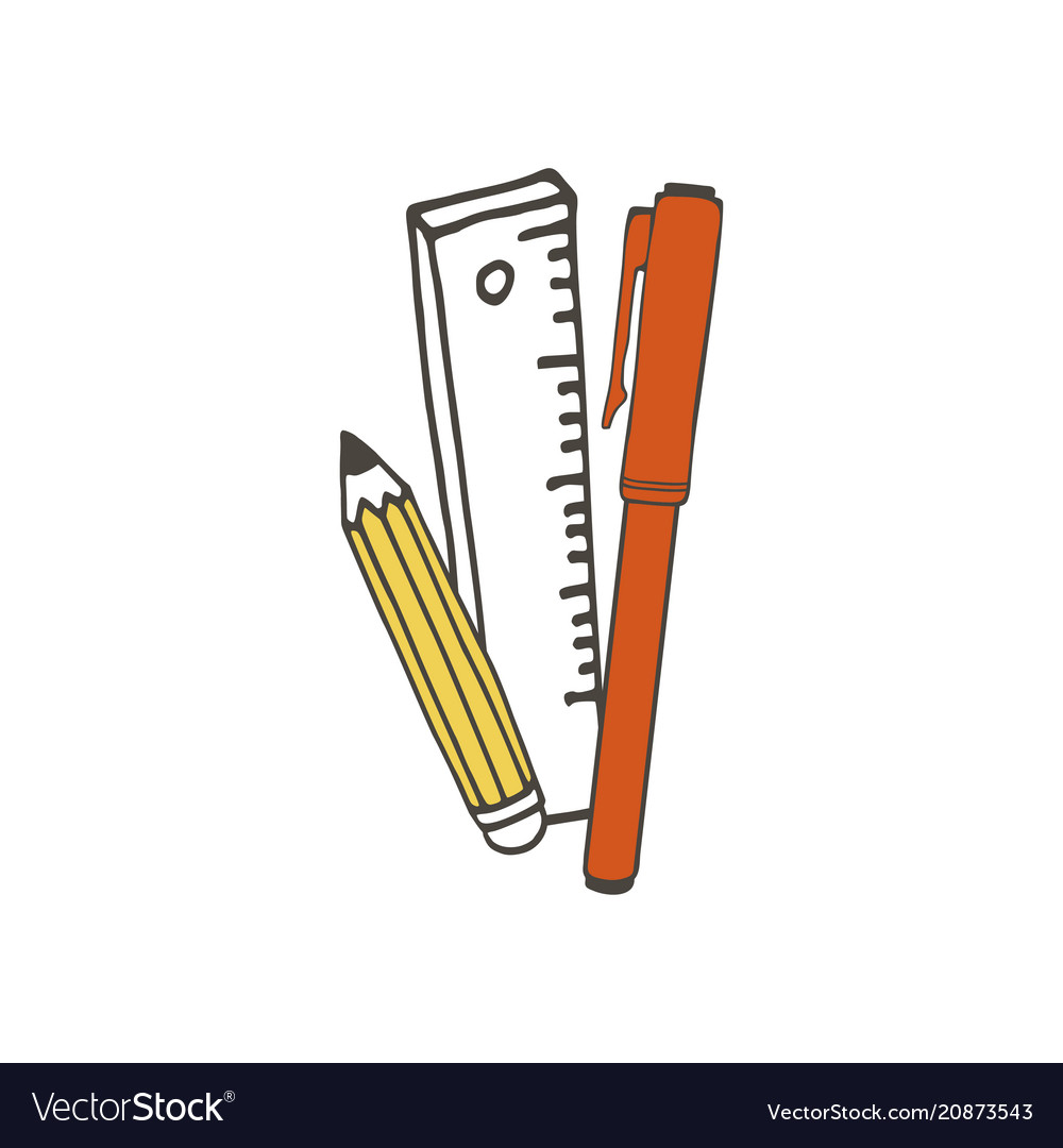 Ruler marker and pencil vector image