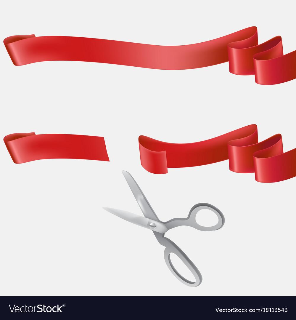 Scissors cutting blue ribbon realistic