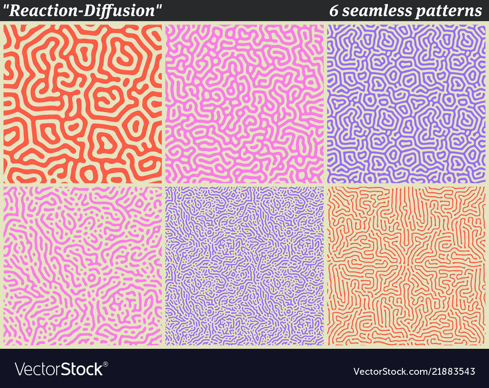 Set of diffusion reaction seamless pattern black