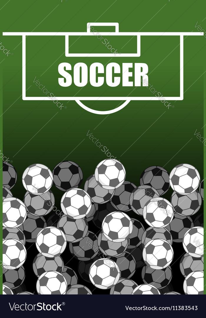 Soccer field and Ball Lot of balls football vector image