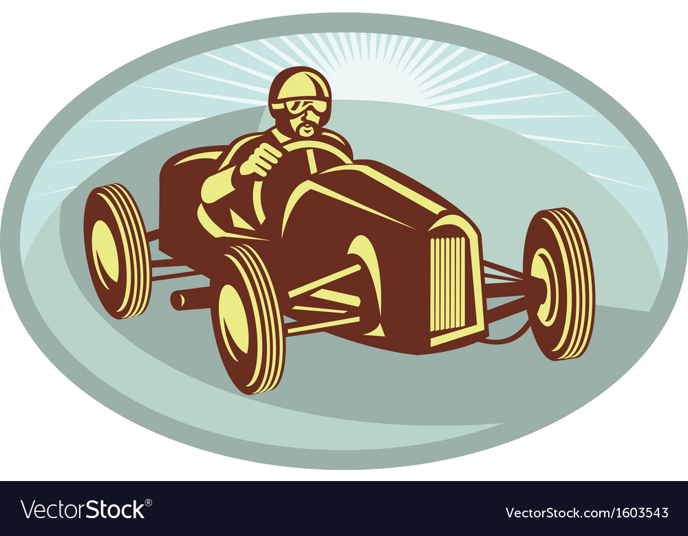 Vintage Race car driver racing with sunburst vector image