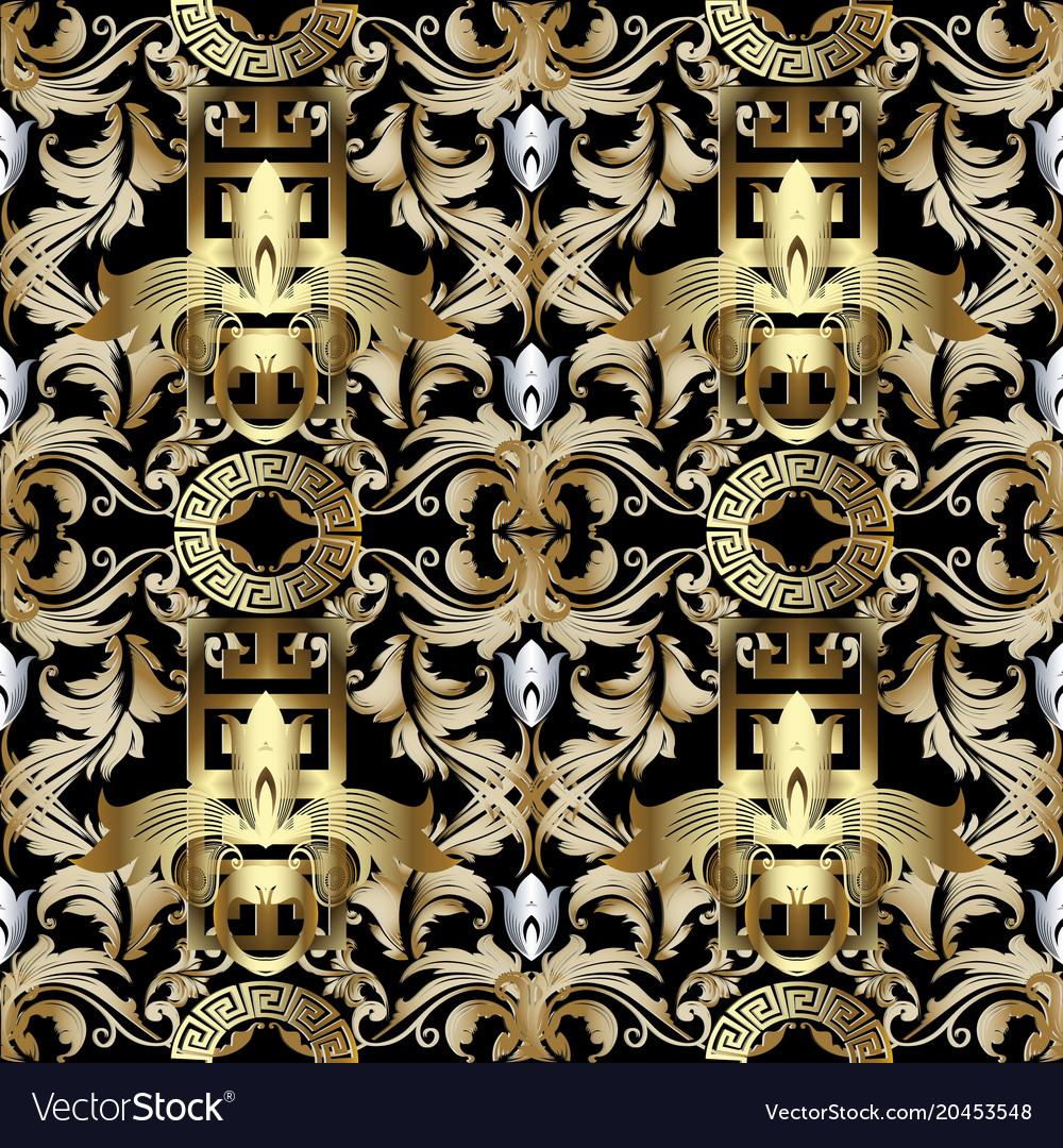 3d Gold Baroque Seamless Pattern Wallpaper Greek