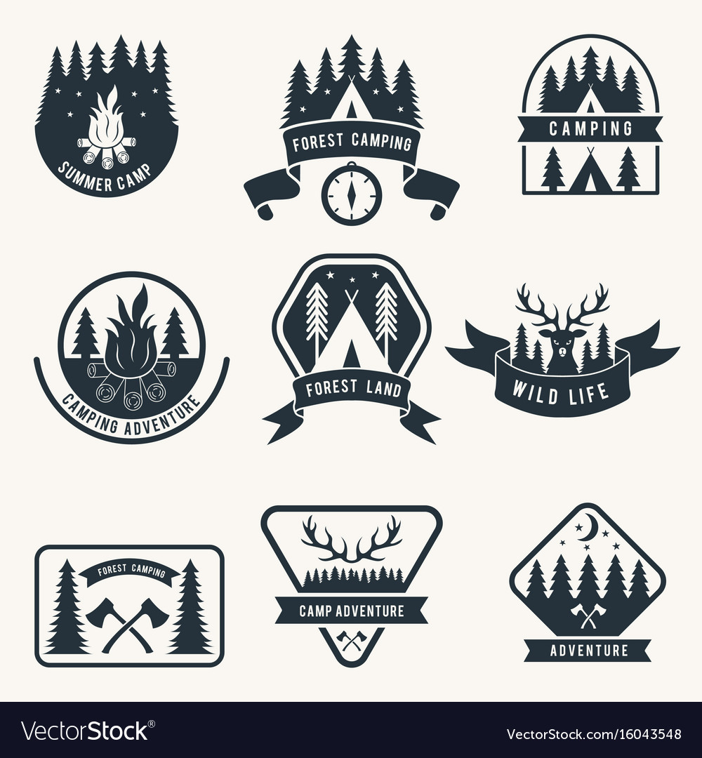 Adventure monochrome badges set silhouette of