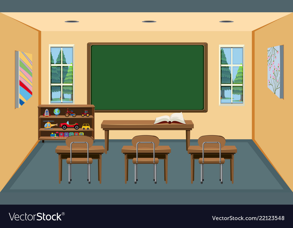 An interior empty classroom Royalty Free Vector Image (1000 x 780 Pixel)