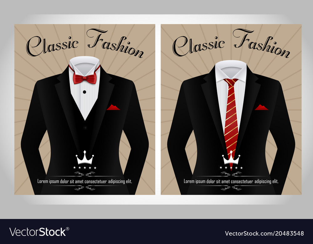 Black business suit template with a red tie and wh