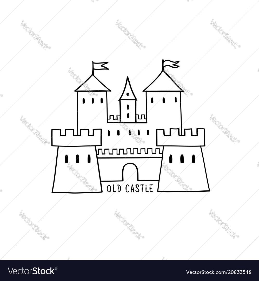 Castle icon hand drawn doodle castle building
