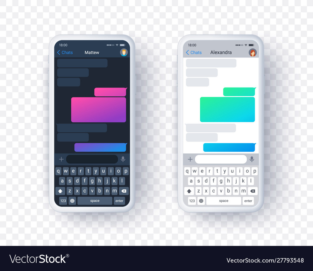 Chat app screen in light and dark mode gradient