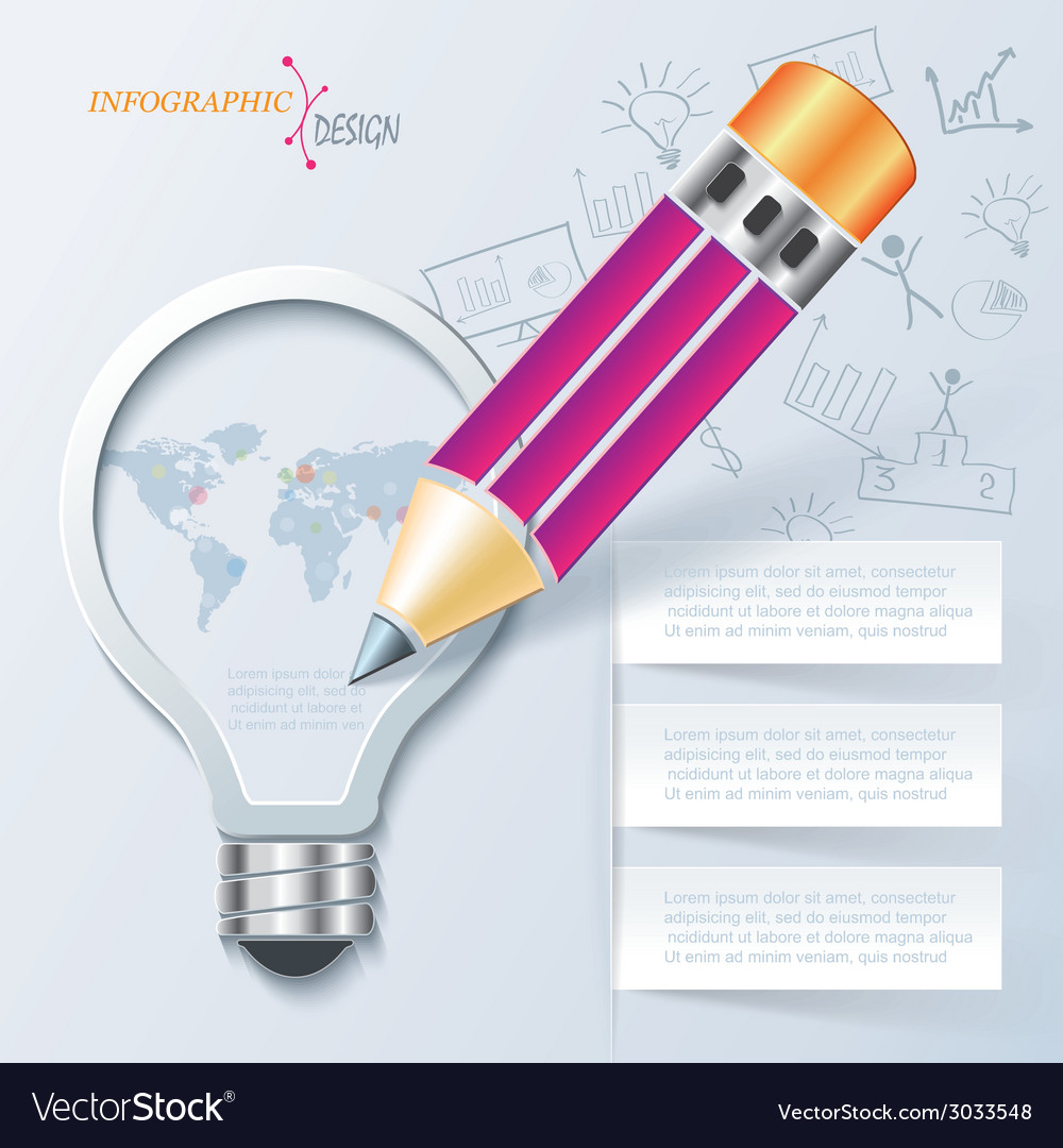 Creative infographic template with pencil and ligh vector image