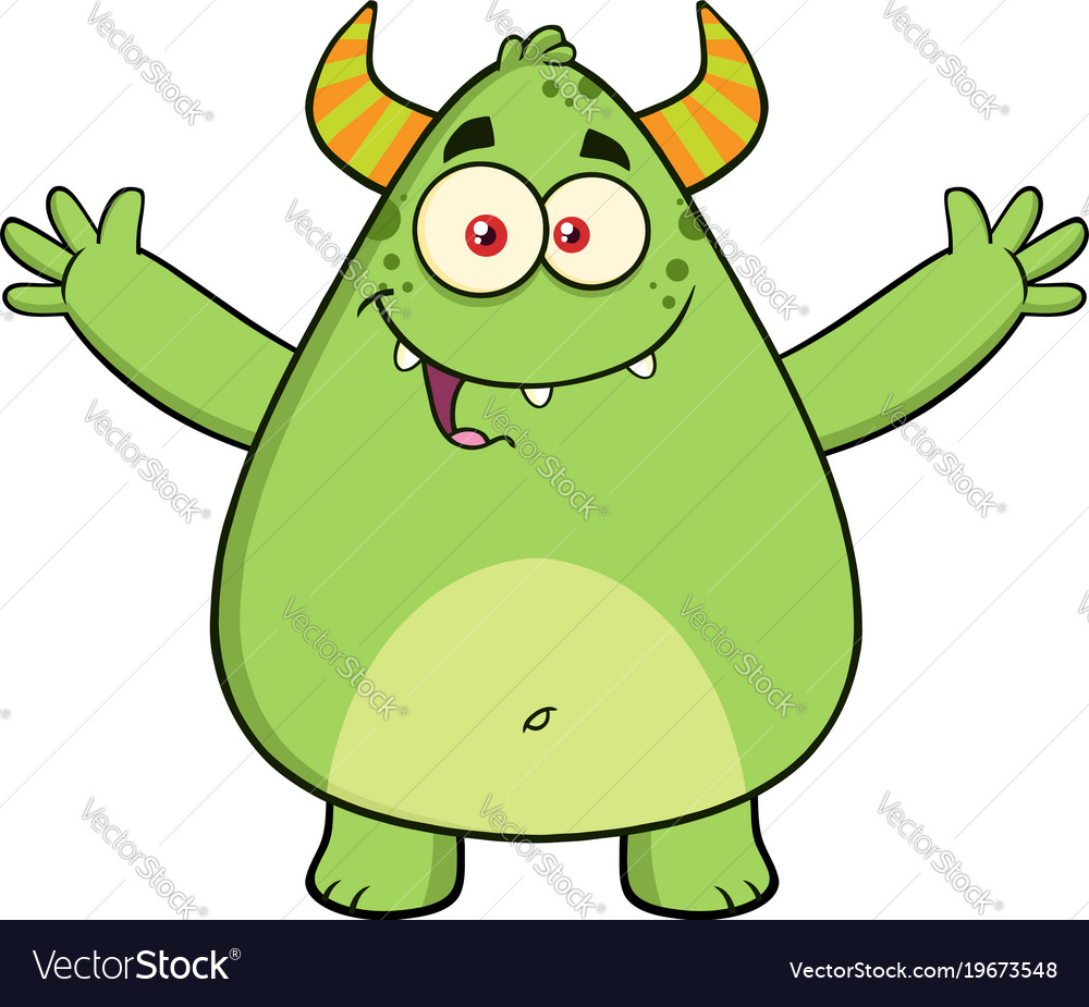 Funny horned green monster cartoon character