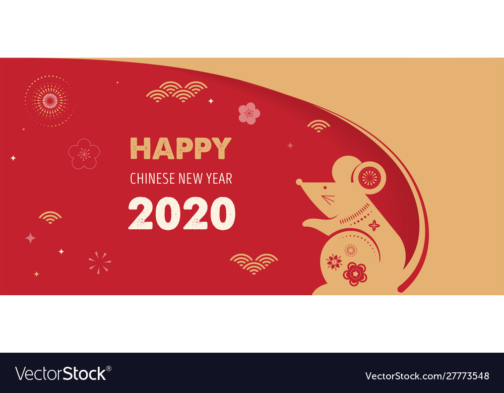 Happy chinese new year design 2020 rat zodiac