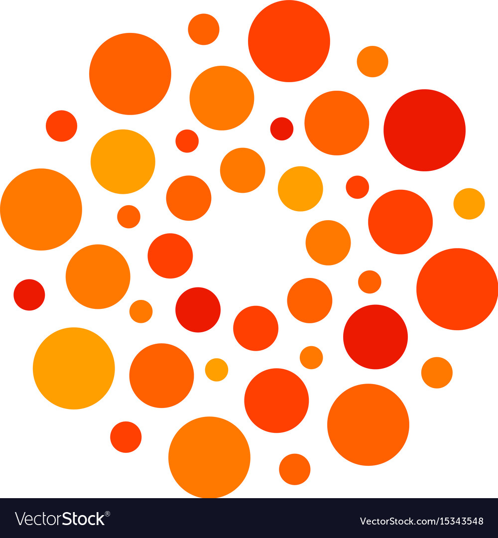 Isolated abstract round shape orange and red color