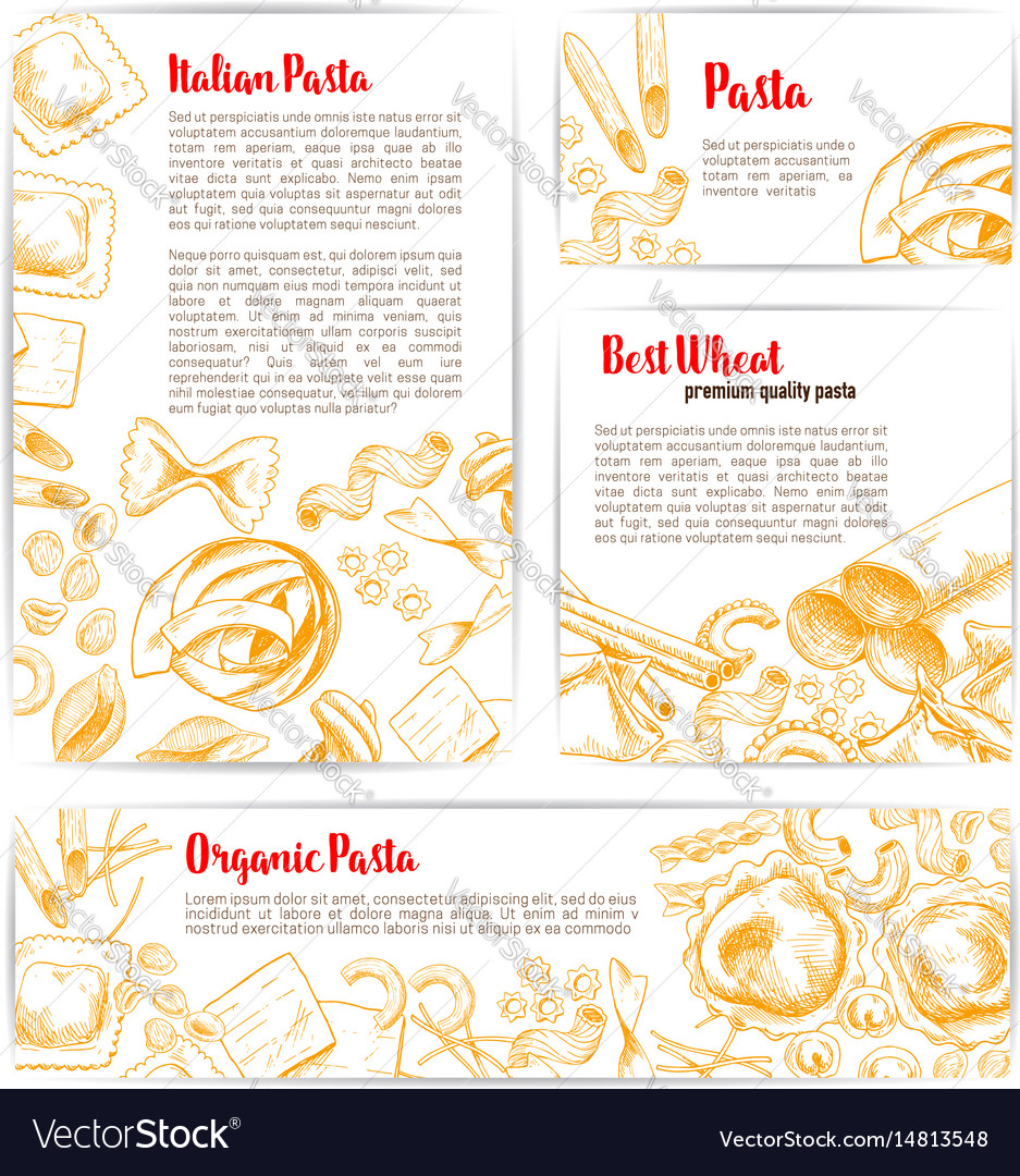 Italian pasta macaroni product poster template vector image