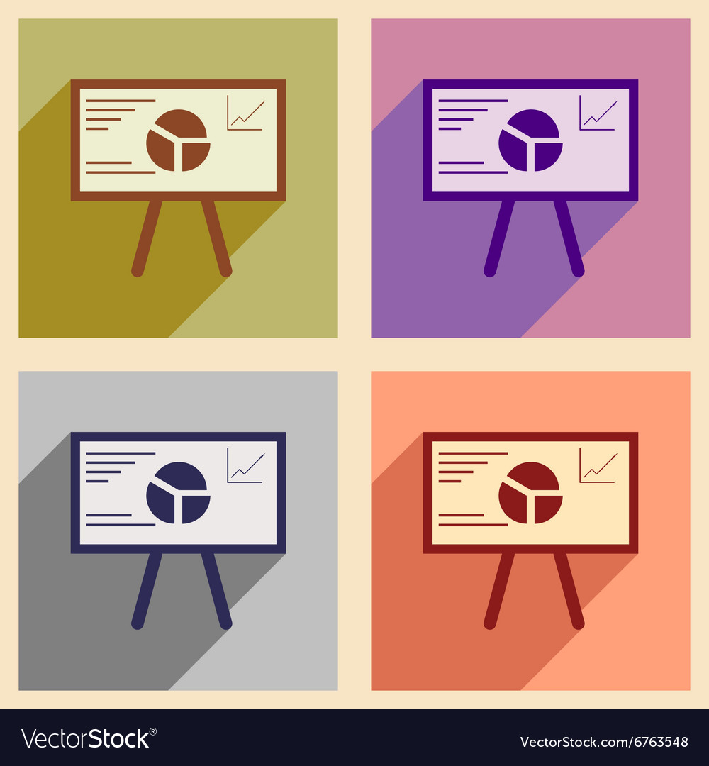 Modern collection flat icons with shadow chart