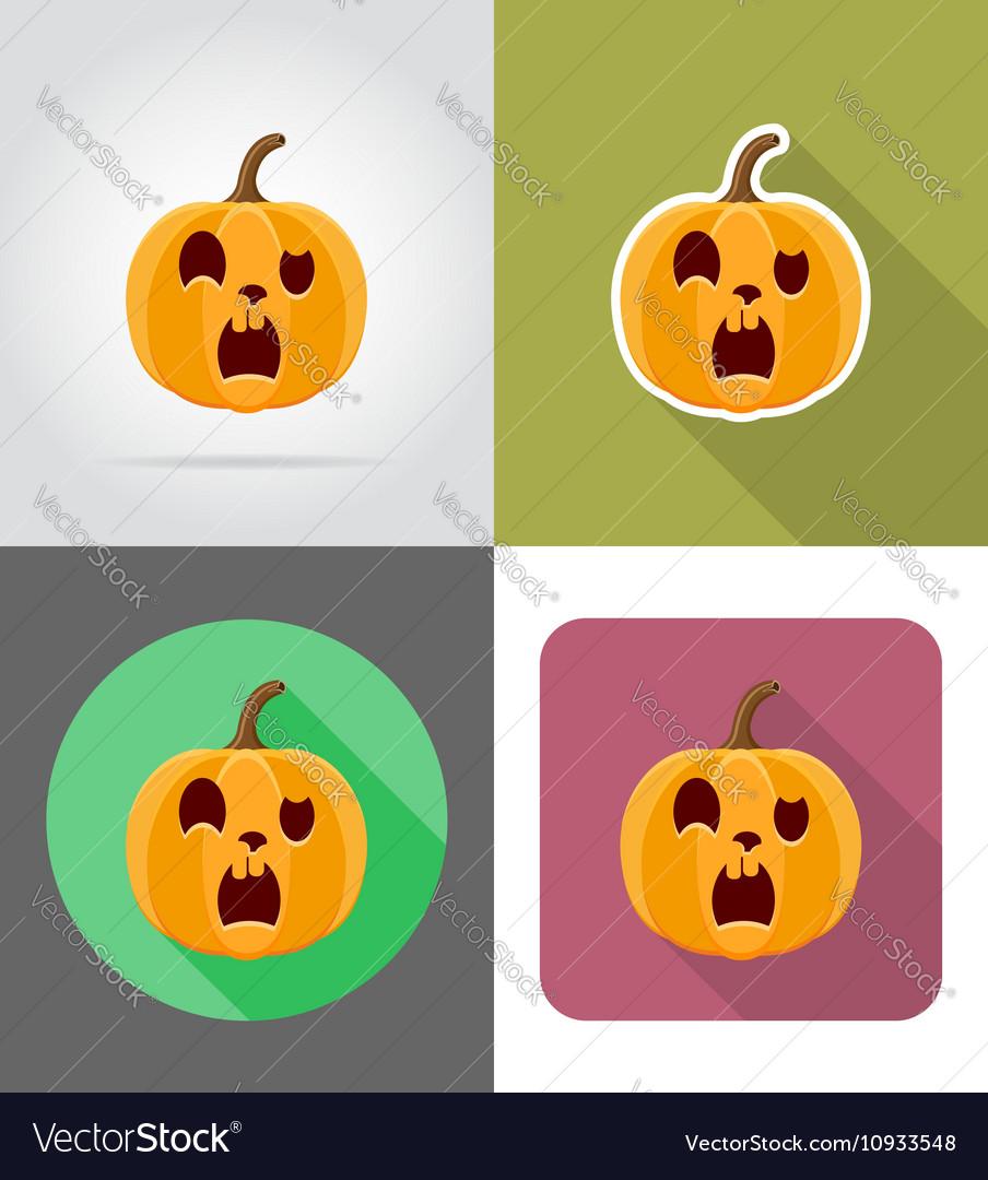Pumpkins for halloween flat icons 15
