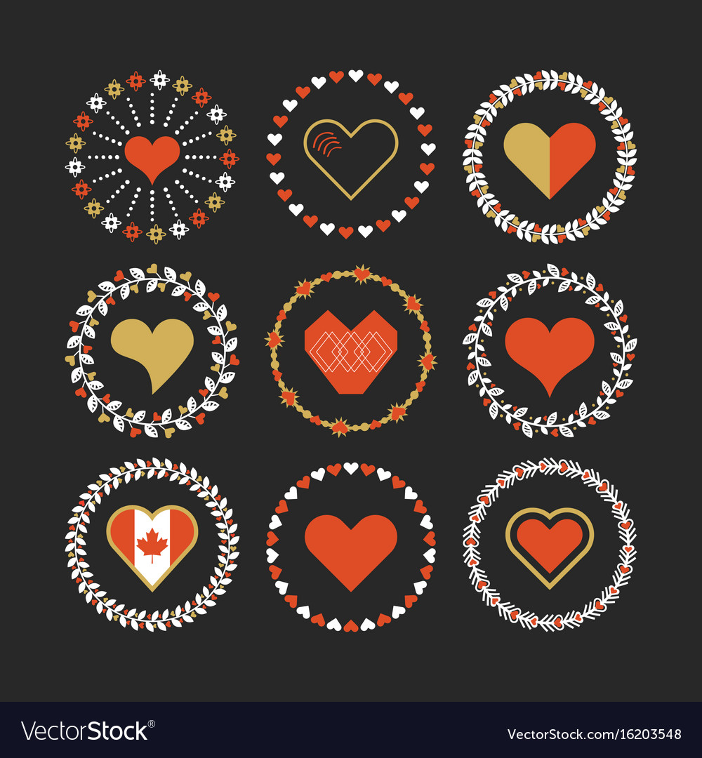 Red and golden hearts circle emblem set on black