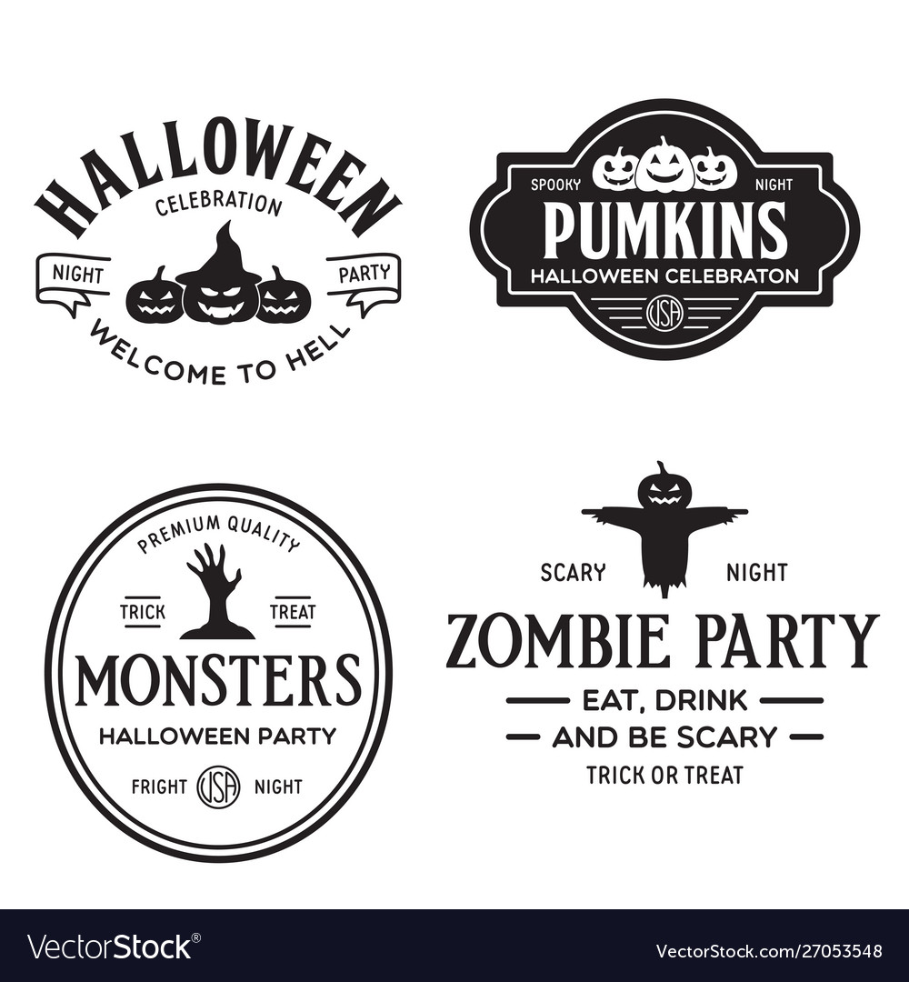 Set happy halloween vintage badges