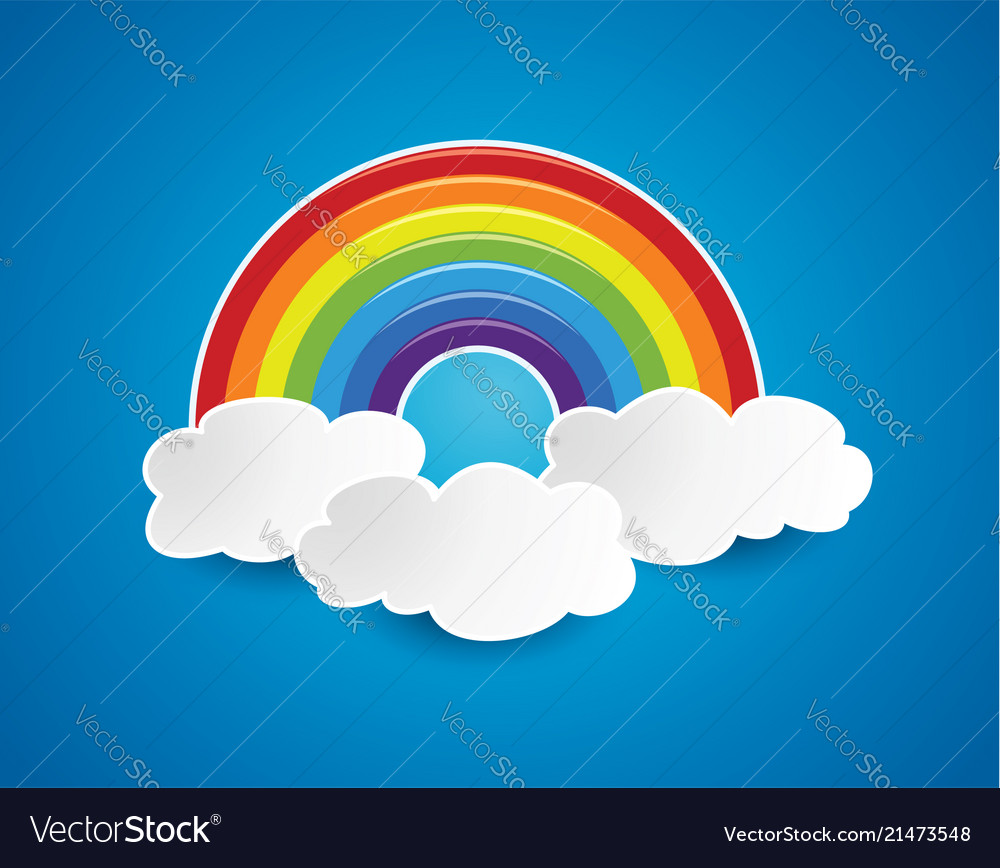 Symbol of rainbow and clouds in the sky