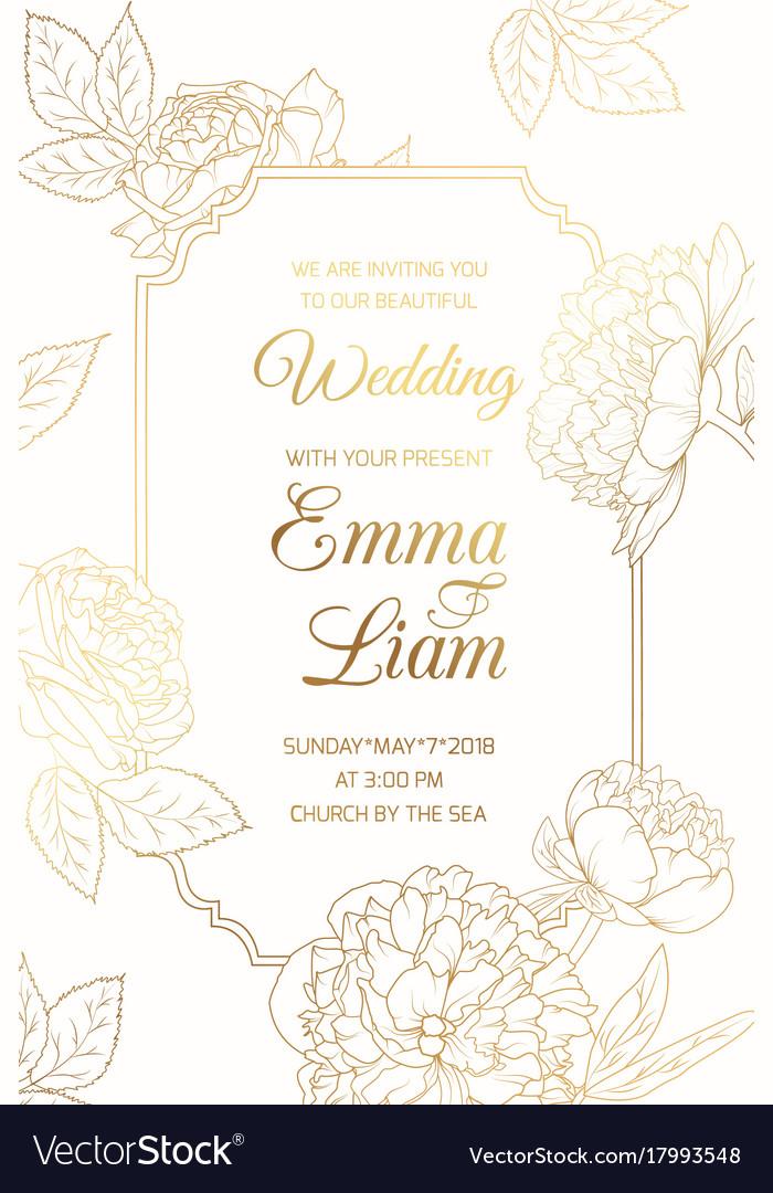Wedding invitation golder rose peony flowers frame