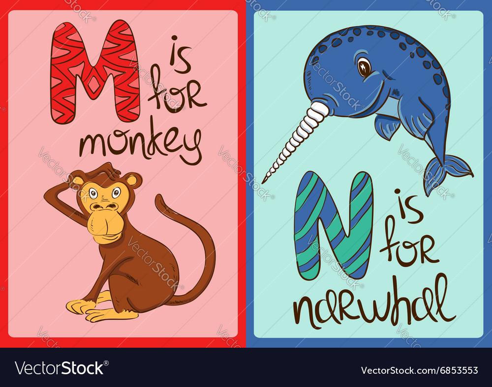 Children Alphabet with Funny Animals Monkey and