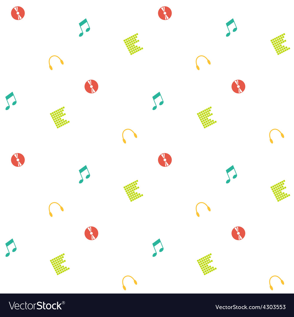 Clean and simple musical seamless pattern in flat