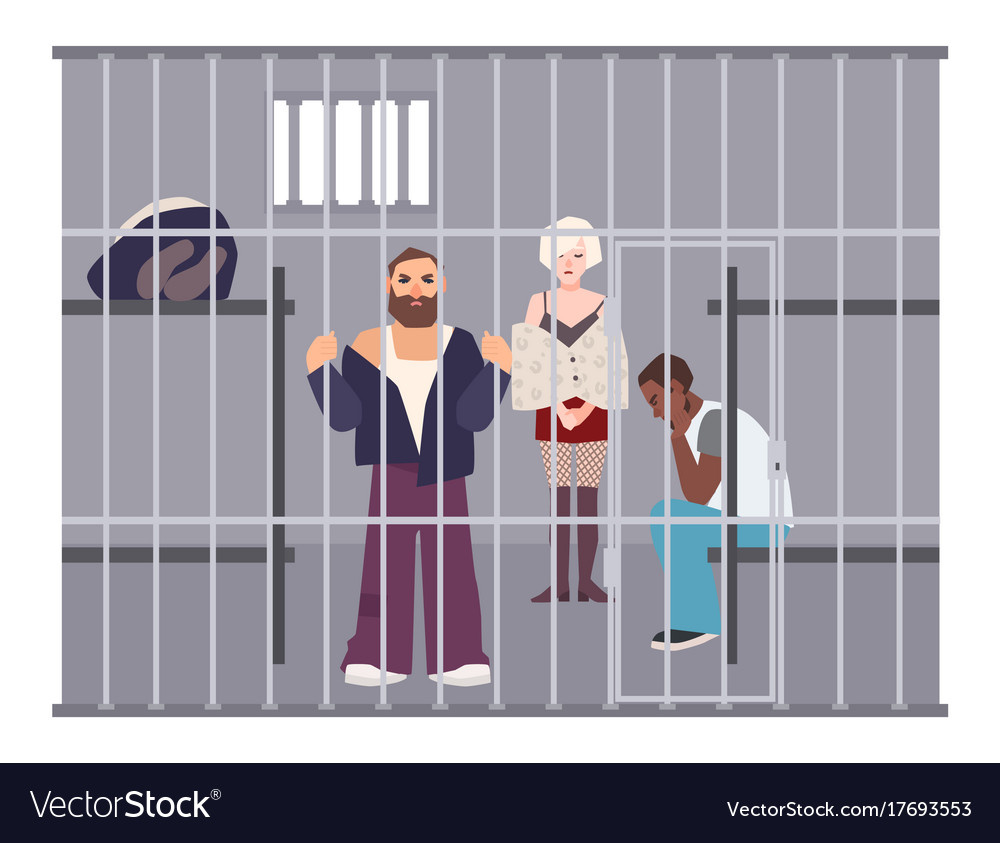Criminals in cell at police station or jail