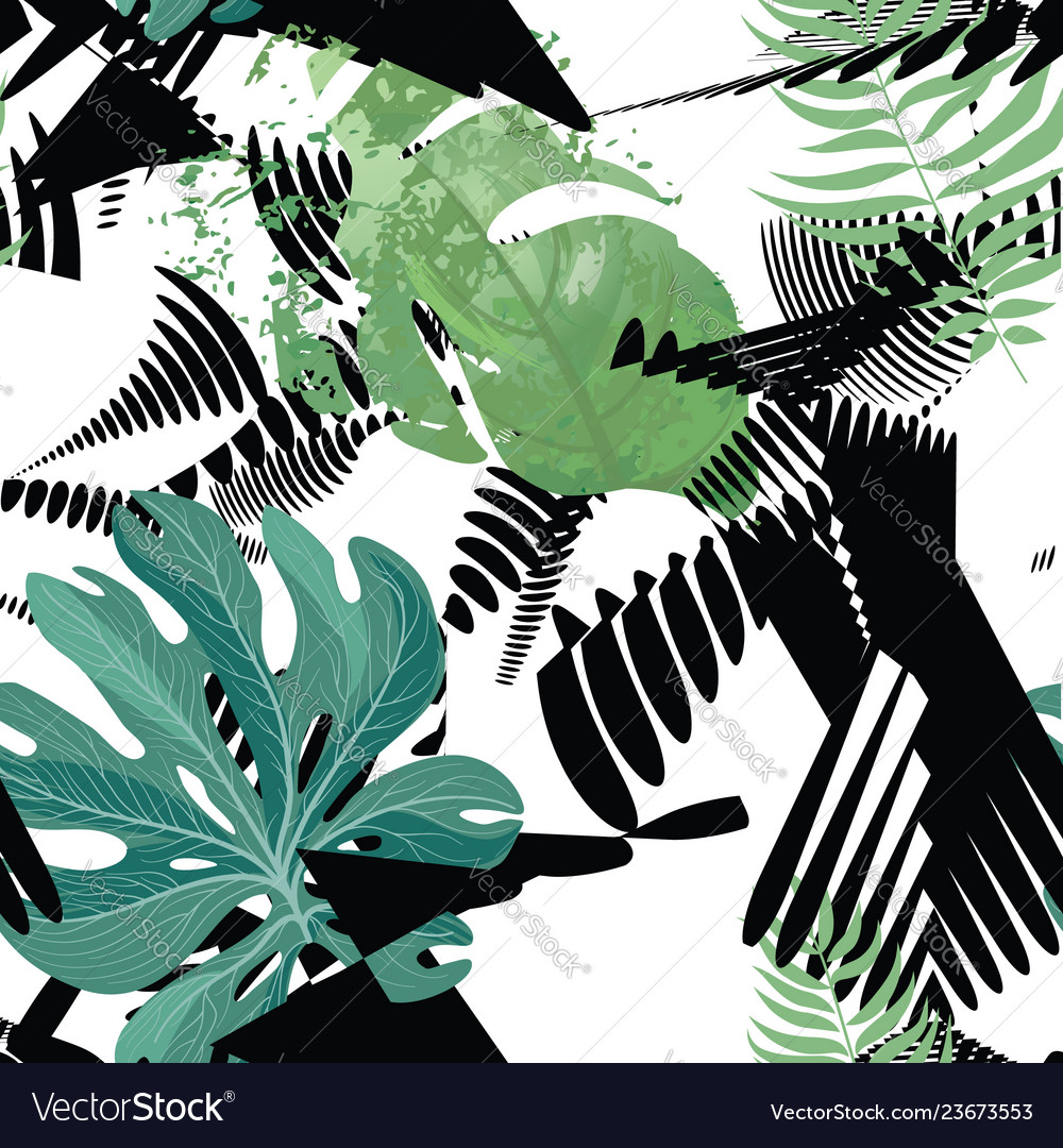 Floral seamless pattern tropical leaves background